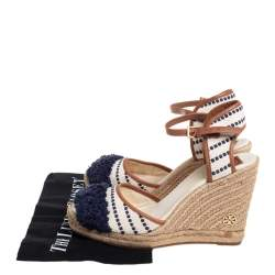 Tory Burch Multicolor Canvas And Leather Trim Wedge Espadrille Ankle Strap Sandals Size 40