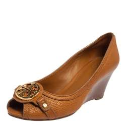 Tory Burch Brown Leather Wedge Sandals Size 37