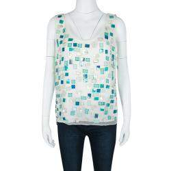 Elie Tahari White Silk Sequin Embellished Embroidered Sleeveless Top M