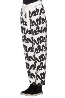 Issa Black and White Squiggle Print Waist Tie Detail Ola Pants S