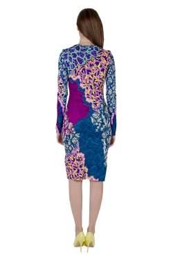 Peter Pilotto Multicolor Marine Print Jersey Long Sleeve Bodycon Dress S