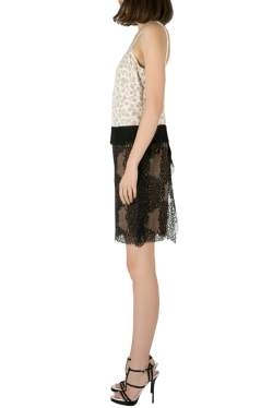 Vera Wang Collection White and Black Abstract Lace Sleeveless Dress S