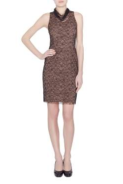 Vera Wang Collection Black Floral Lace High Cowl Neck Sleeveless Dress S