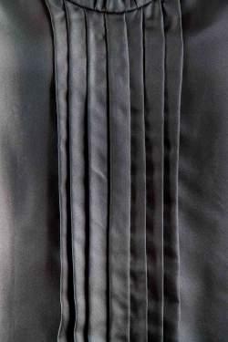 Salvatore Ferragamo Blue Silk Pleated Sleeveless Top L