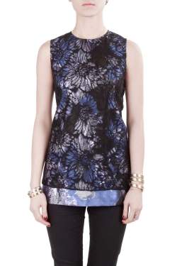 Vera Wang Collection Multicolor Lurex Jacquard Floral Lace Overlay Sleeveless Top M