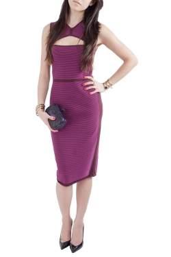 Narciso Rodriguez Purple Silk Knit Cut Out Yoke Sleeveless Sheath Dress S