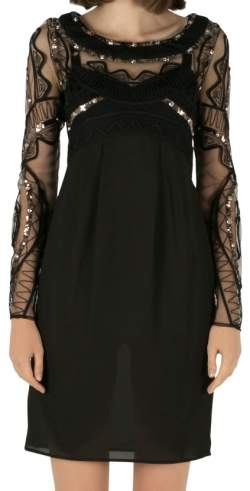 Alice by Temperley Sheer Black Embellished Lace Bodice Pencil Dress S