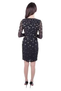 Alice by Temperley Black and Gold Embellished Stretch Tulle Sapphire Pencil Dress S