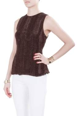 Giorgio Armani Brown Accordion Pleated Textured Silk Sleeveless Top S