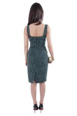 Zac Posen Green Leopard Patterned Jacquard Draped Bustier Dress M