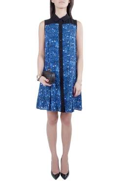 Proenza Schouler Blue and Black Micro Printed Silk Georgette Flared Dress S
