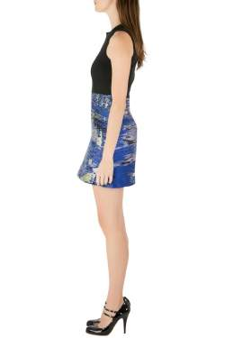 Proenza Schouler Black and Blue Jacquard Sleeveless Cocktail Dress S