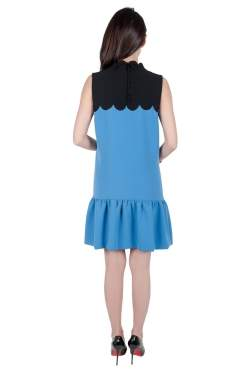 Victoria Victoria Beckham Blue Contrast Scalloped Yoke Flounce Dress M