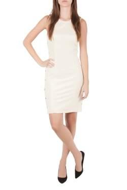 Versace Cream Knit Rose Gold Medusa Button Detail Sleeveless Fitted Dress M