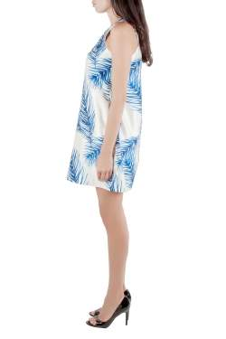 Tory Burch White and Blue Baltic Sea Feather Printed Silk Sleeveless Dress M