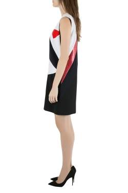 Victoria Victoria Beckham Colorblock Lamé Trim Panelled Sleeveless Shift Dress M