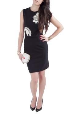 Stella McCartney Black Cotton Stretch Crochet Applique Detail Sleeveless Pencil Dress M