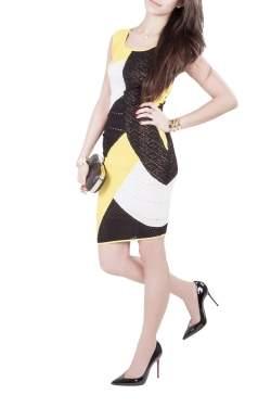 Catherine Malandrino Colorblock Paneled Pointelle Knit Sleeveless Bodycon Dress S