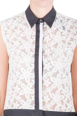 Joseph Off White Sheer Broderie Anglaise Contrast Trim Sleeveless Top M