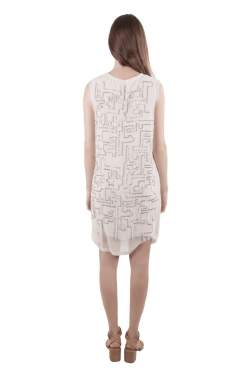 3.1 Phillip Lim White Chiffon Silver Sequined Maze Embellished Shift Dress S