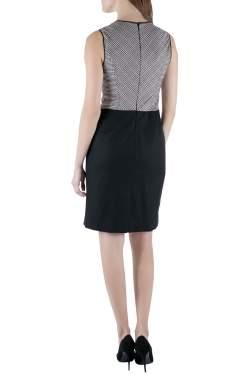 Derek Lam Houndstooth Bodice Colorblock Sleeveless Wool Dress S