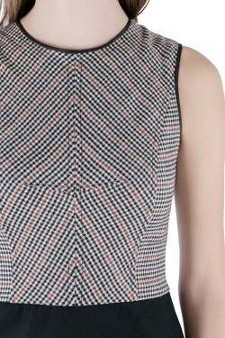 Derek Lam Houndstooth Bodice Colorblock Sleeveless Wool Dress S