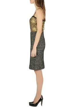 Dolce & Gabbana Colorblock Gold Brocade and Tweed Sleeveless Dress S