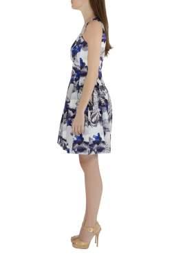 Prabal Gurung Purple Rorschach Floral Print Satin Sleeveless Fit and Flare Dress M