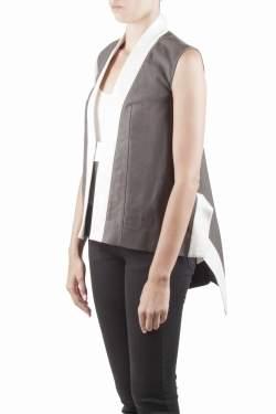 Rick Owens Darkdust Brown Cotton Asymmetric Hem Contrast Trim Sleeveless Jacket S