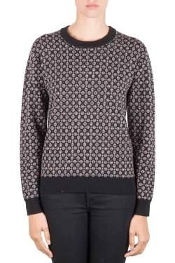Joseph Burgundy Cravate Jacquard Wool Crew Neck Sweater M