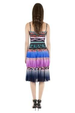 Jean Paul Gaultier Soleil Multicolor Digital Print Tiered Cami Dress XS