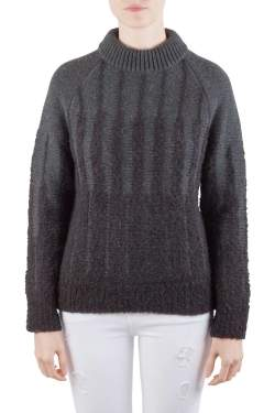 Etro Charcoal Grey Wool and Alpaca Textured Knit Long Sleeve High Sweater S