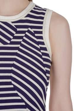 Derek Lam Navy Blue Striped Cotton Paneled Sleeveless Sheath Dress S