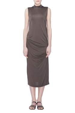 Acne Studios Dark Olive Stretch Knit Draped Virl Midi Dress M
