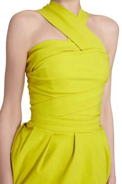 Preen by Thorton Bregazzi Citrus Green Stretch Sateen Cocktail Dress S