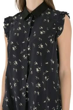 Marni Navy Blue Printed Silk Ruffled Detail Sleeveless Shirt M