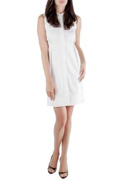 Jil Sander White Sleeveless Button Front Dress S