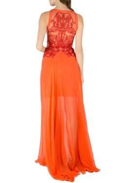 Zuhair Murad Orange Silk Chiffon Embellished Bodice Gown S