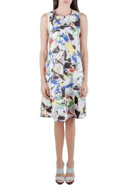 Jil Sander Multicolor Abstract Print Cotton Sleeveless Flared Dress XS