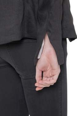 L'Agence Black Linen Open Front Sleeve Slit Detail Blazer M