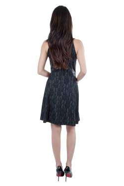Sea Black Lace and Distressed Leather Panel Dress S