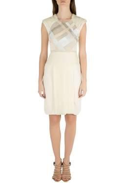 J.Mendel Buttercream Silk Sheer Embellished Panel Cocktail Dress XS