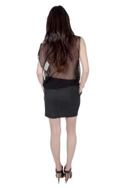 Faith Connexion Monochrome Abstract Print Jersey Mesh Back Sleeveless Tank Dress M