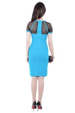 Yigal Azrouel Electric Blue Knit Diamond Colorblock Dress XS