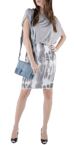 Faith Connexion Further Grey Jersey Blouson Bodice Feather Print Pencil Dress XS