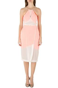 Dion Lee Neon Orange and Cream Sheer Silk Layered Vertigo Halter Dress S