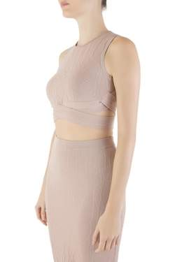 Jonathan Simkhai Blush Pink Textured Intarsia Knit Sleeveless Crop Top XS