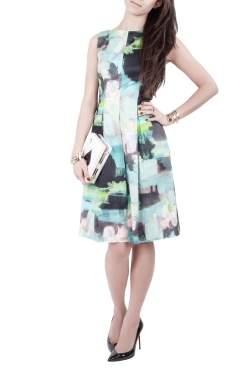 Lela Rose Multicolor Abstract Print Cotton Bateau Neck Sheath Dress S