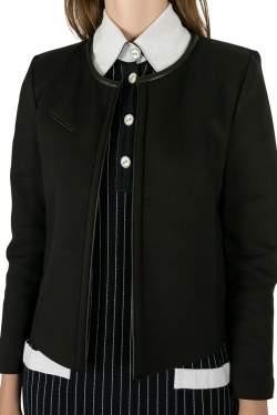IRO Black Twill Leather Trim Open Front Tim Jacket M