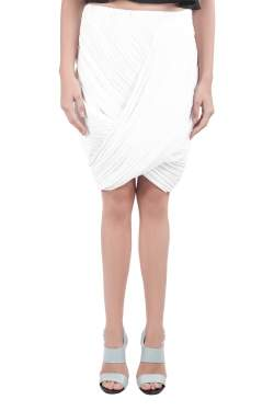 Dion Lee White Pleated Crepe Drape Front Skirt M